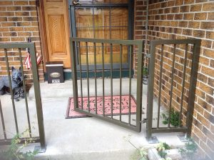 Front gate with rail